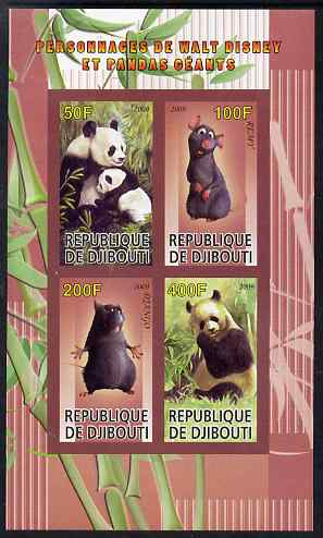 Djibouti 2009 Pandas and Disney Characters #3 imperf sheetlet containing 4 values unmounted mint