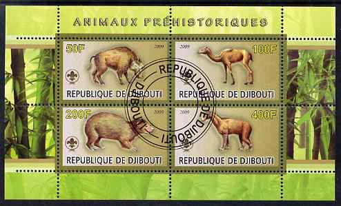 Djibouti 2009 Prehistoric Animals with Scout Logo #1 perf sheetlet containing 4 values fine cto used
