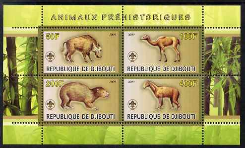 Djibouti 2009 Prehistoric Animals with Scout Logo #1 perf sheetlet containing 4 values unmounted mint
