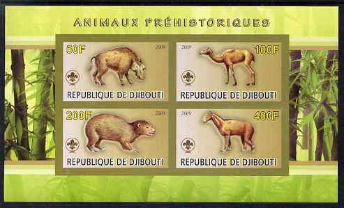 Djibouti 2009 Prehistoric Animals with Scout Logo #1 imperf sheetlet containing 4 values unmounted mint