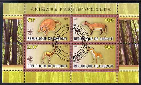 Djibouti 2009 Prehistoric Animals with Scout Logo #2 perf sheetlet containing 4 values fine cto used
