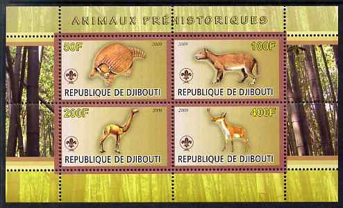 Djibouti 2009 Prehistoric Animals with Scout Logo #2 perf sheetlet containing 4 values unmounted mint