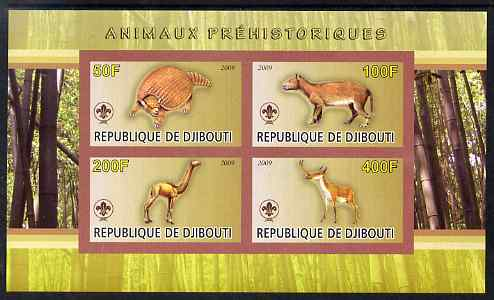 Djibouti 2009 Prehistoric Animals with Scout Logo #2 imperf sheetlet containing 4 values unmounted mint