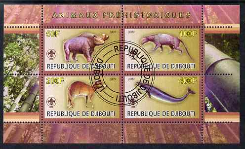 Djibouti 2009 Prehistoric Animals with Scout Logo #3 perf sheetlet containing 4 values fine cto used