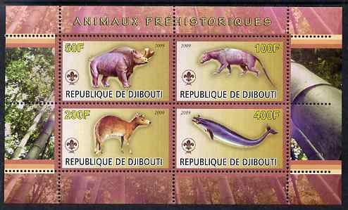 Djibouti 2009 Prehistoric Animals with Scout Logo #3 perf sheetlet containing 4 values unmounted mint