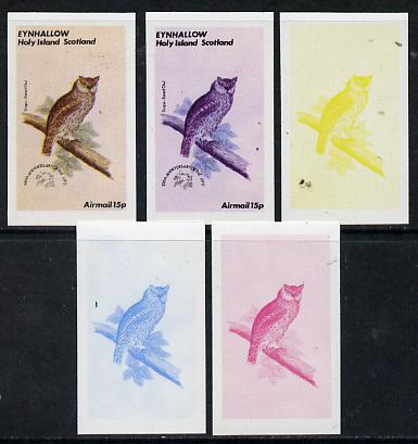 Eynhallow 1974 Owls (UPU Centenary) 15p (Scops-Eared Owl) set of 5 imperf progressive colour proofs comprising 3 individual colours (red, blue & yellow) plus 3 and all 4-colour composites unmounted mint