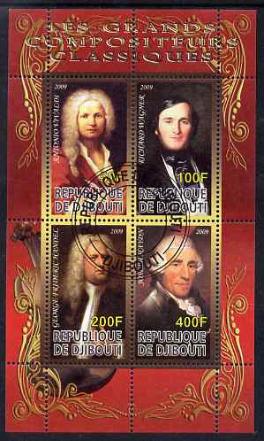 Djibouti 2009 Classic Composers #1 perf sheetlet containing 4 values fine cto used