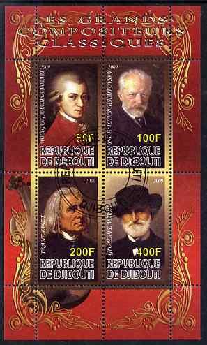 Djibouti 2009 Classic Composers #2 perf sheetlet containing 4 values fine cto used