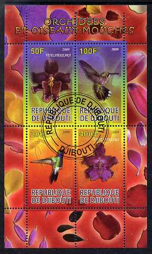 Djibouti 2009 Orchids and Humming Birds #1 perf sheetlet containing 4 values fine cto used