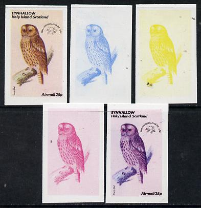 Eynhallow 1974 Owls (UPU Centenary) 25p (Tawny Owl) set of 5 imperf progressive colour proofs comprising 3 individual colours (red, blue & yellow) plus 3 and all 4-colour composites unmounted mint