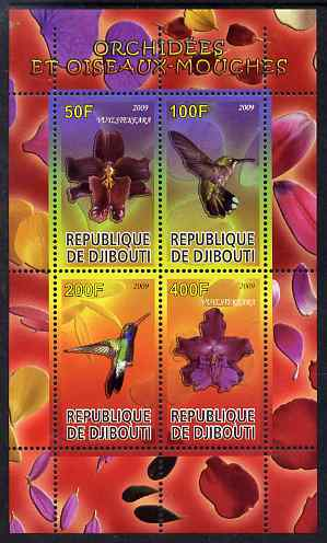 Djibouti 2009 Orchids and Humming Birds #1 perf sheetlet containing 4 values unmounted mint