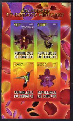 Djibouti 2009 Orchids and Humming Birds #1 imperf sheetlet containing 4 values unmounted mint