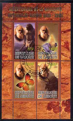 Djibouti 2009 Bicentenary of Charles Darwin perf sheetlet containing 4 values fine cto used