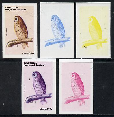 Eynhallow 1974 Owls (UPU Centenary) 40p (Short-Eared Owl) set of 5 imperf progressive colour proofs comprising 3 individual colours (red, blue & yellow) plus 3 and all 4-colour composites unmounted mint