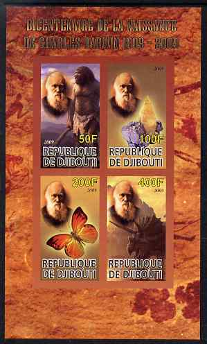 Djibouti 2009 Bicentenary of Charles Darwin imperf sheetlet containing 4 values unmounted mint