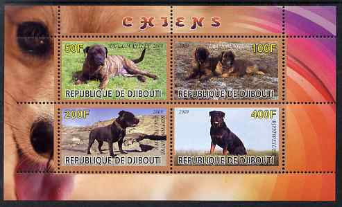 Djibouti 2009 Dogs perf sheetlet containing 4 values unmounted mint