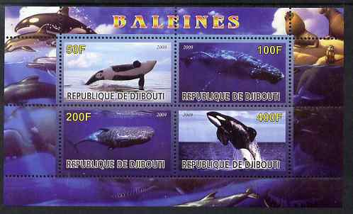 Djibouti 2009 Whales perf sheetlet containing 4 values unmounted mint