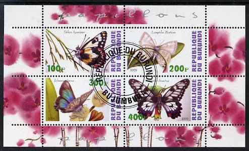 Burundi 2009 Butterflies #1 perf sheetlet containing 4 values fine cto used