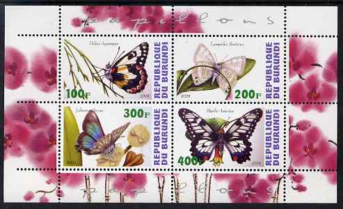 Burundi 2009 Butterflies #1 perf sheetlet containing 4 values unmounted mint