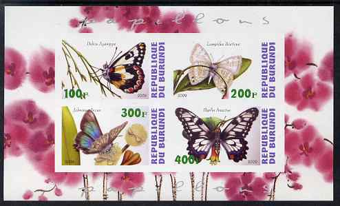 Burundi 2009 Butterflies #1 imperf sheetlet containing 4 values unmounted mint