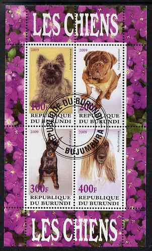 Burundi 2009 Dogs #1 perf sheetlet containing 4 values fine cto used