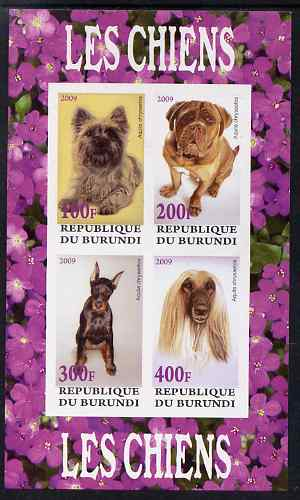 Burundi 2009 Dogs #1 perf sheetlet containing 4 values unmounted mint