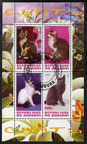 Burundi 2009 Domestic Cats #1 perf sheetlet containing 4 values fine cto used