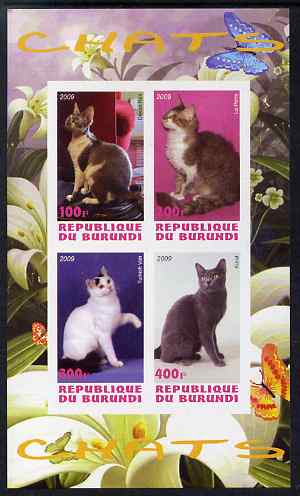 Burundi 2009 Domestic Cats #1 imperf sheetlet containing 4 values unmounted mint