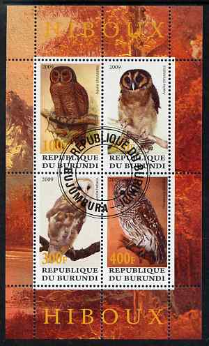 Burundi 2009 Owls perf sheetlet containing 4 values fine cto used