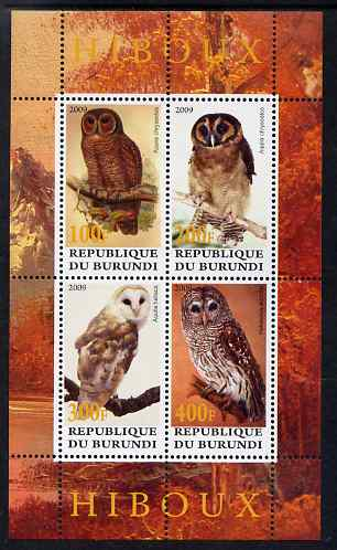 Burundi 2009 Owls perf sheetlet containing 4 values unmounted mint