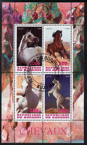 Burundi 2009 Horses perf sheetlet containing 4 values fine cto used