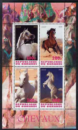 Burundi 2009 Horses perf sheetlet containing 4 values unmounted mint