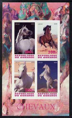 Burundi 2009 Horses imperf sheetlet containing 4 values unmounted mint