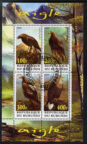 Burundi 2009 Eagles perf sheetlet containing 4 values fine cto used