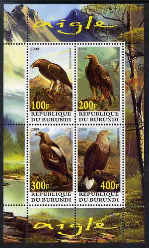 Burundi 2009 Eagles perf sheetlet containing 4 values unmounted mint
