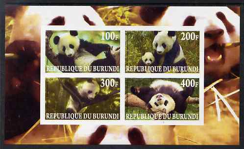 Burundi 2009 Pandas imperf sheetlet containing 4 values unmounted mint