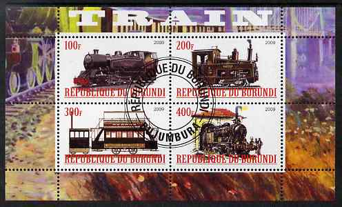 Burundi 2009 Steam Locos #1 perf sheetlet containing 4 values fine cto used