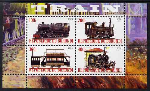 Burundi 2009 Steam Locos #1 perf sheetlet containing 4 values unmounted mint