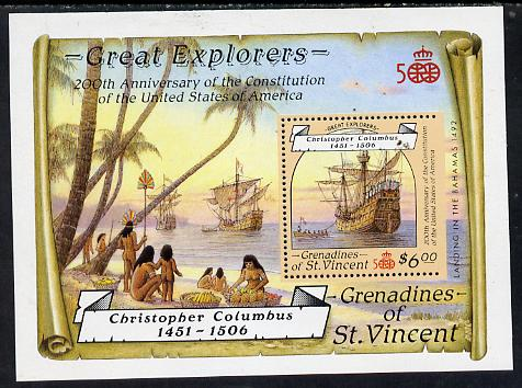 St Vincent - Grenadines 1988 Explorers the unissued $6 m/sheet (Santa Maria) with stamp perforated on three sides only (imperf at right) unmounted mint.