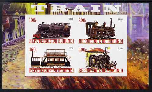 Burundi 2009 Steam Locos #1 imperf sheetlet containing 4 values unmounted mint