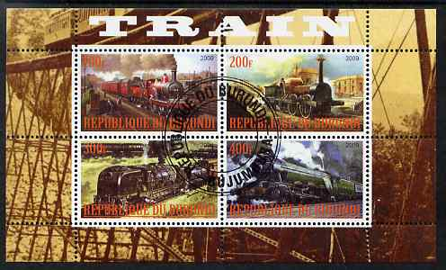 Burundi 2009 Steam Locos #2 perf sheetlet containing 4 values fine cto used