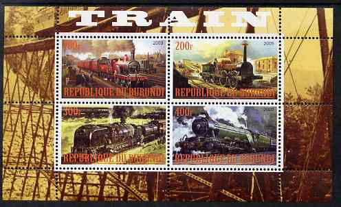Burundi 2009 Steam Locos #2 perf sheetlet containing 4 values unmounted mint