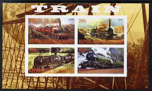 Burundi 2009 Steam Locos #2 imperf sheetlet containing 4 values unmounted mint