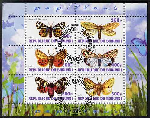 Burundi 2009 Butterflies #2 perf sheetlet containing 6 values fine cto used