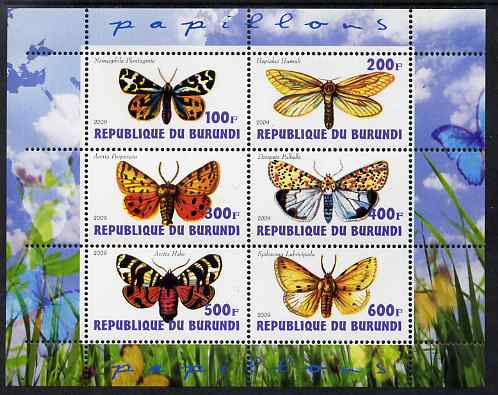 Burundi 2009 Butterflies #2 perf sheetlet containing 6 values unmounted mint