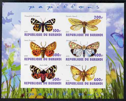Burundi 2009 Butterflies #2 imperf sheetlet containing 6 values unmounted mint