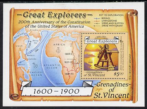 St Vincent - Grenadines 1988 Explorers $5 m/sheet (Sextant) with stamp perforated on three sides only (imperf at right) unmounted mint.