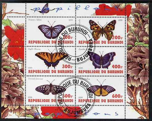 Burundi 2009 Butterflies #3 perf sheetlet containing 6 values fine cto used