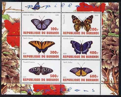 Burundi 2009 Butterflies #3 perf sheetlet containing 6 values unmounted mint