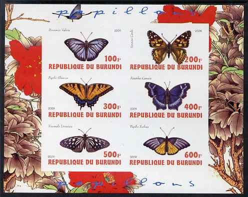 Burundi 2009 Butterflies #3 imperf sheetlet containing 6 values unmounted mint